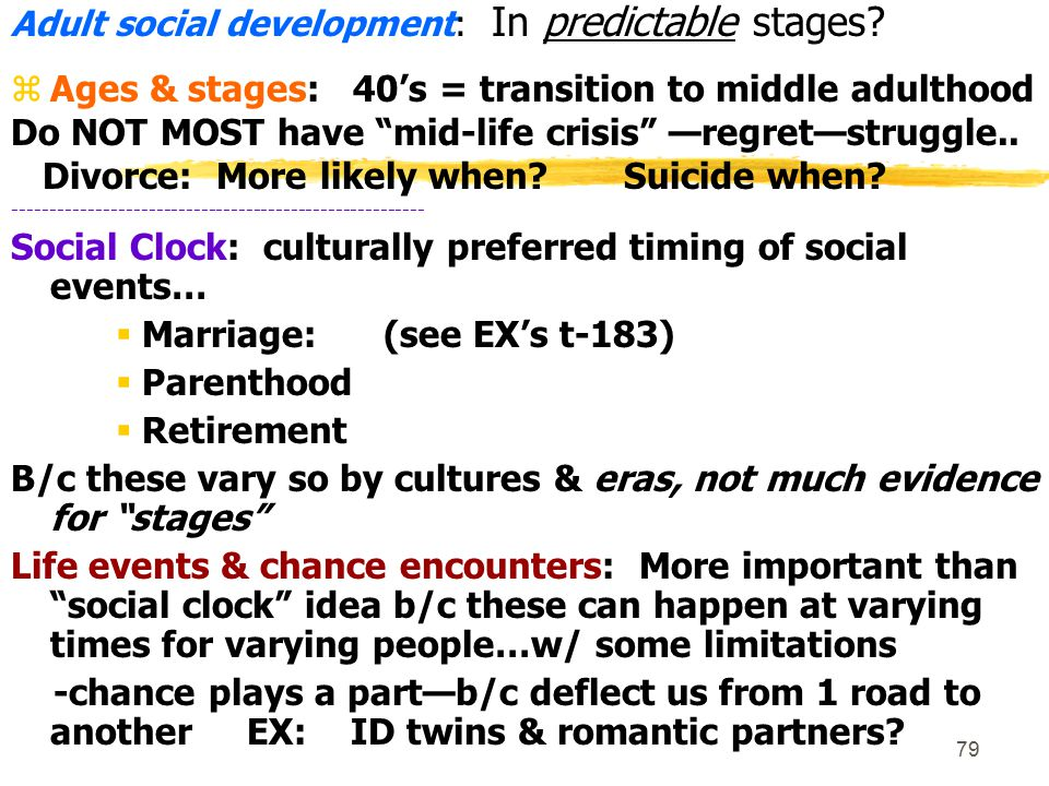 80 Adulthood: Social Development  Do ppl in early-forties mostly have a midlife crisis.