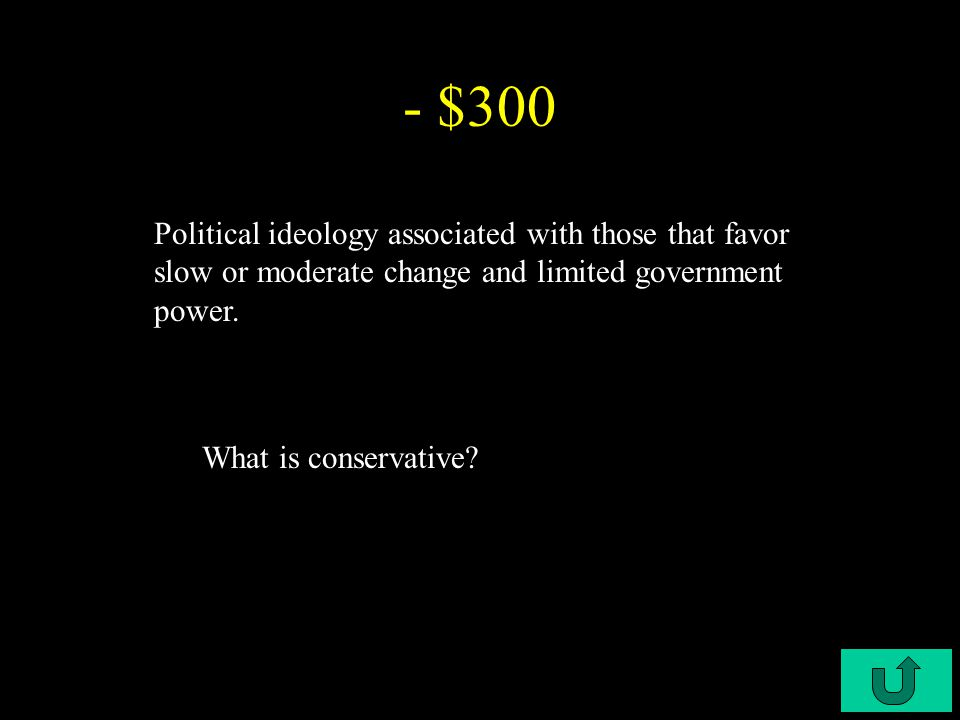 C3-$200 - $200 Political ideology associated with conservatism, resistant to quick change What is a republican