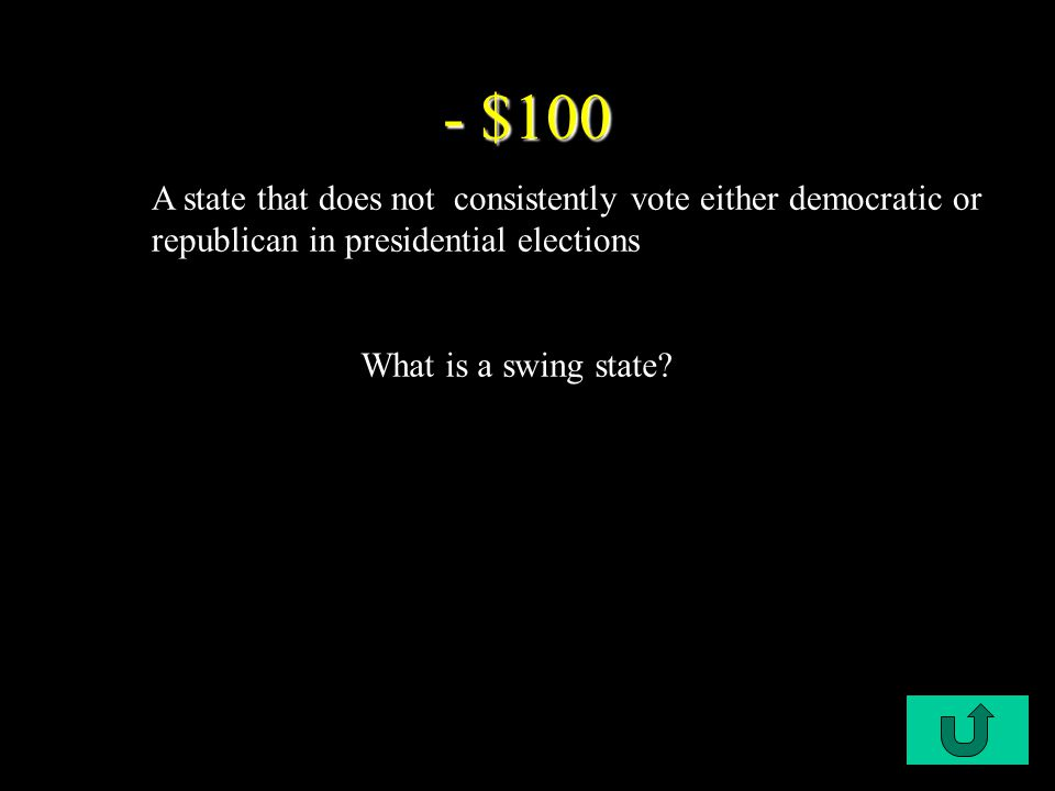C1-$100 - $100 A state that does not consistently vote either democratic or republican in presidential elections What is a swing state?