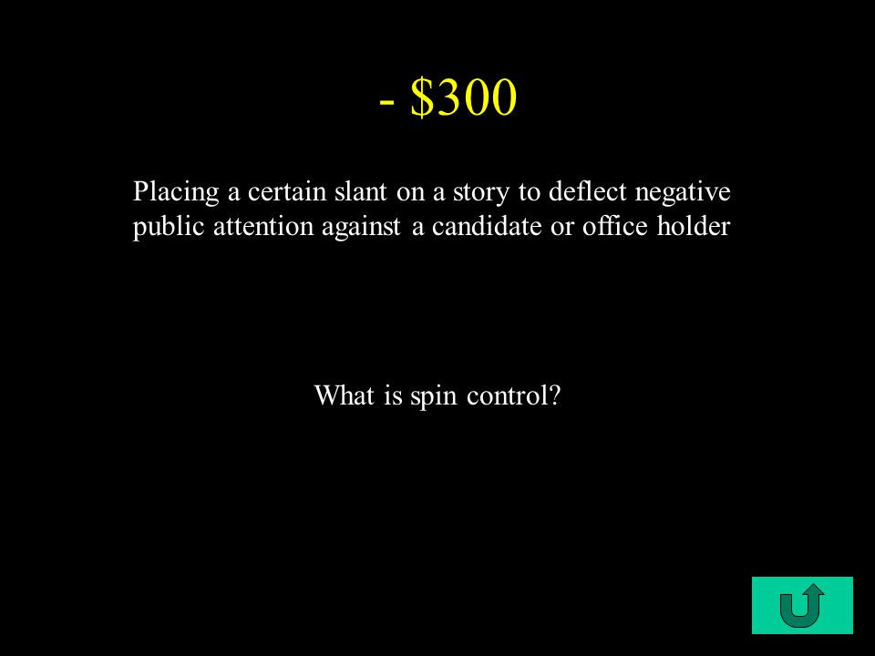 C1-$300 - $300 Placing a certain slant on a story to deflect negative public attention against a candidate or office holder What is spin control?