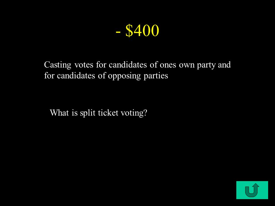 C1-$400 - $400 Casting votes for candidates of ones own party and for candidates of opposing parties What is split ticket voting?