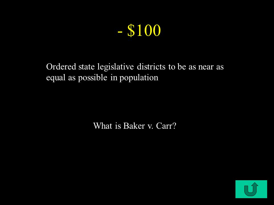 C2-$100 - $100 Ordered state legislative districts to be as near as equal as possible in population What is Baker v.