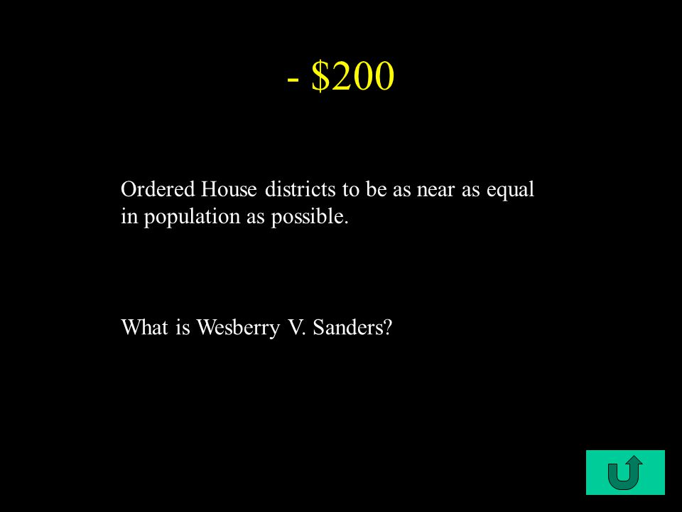 C2-$200 - $200 Ordered House districts to be as near as equal in population as possible.