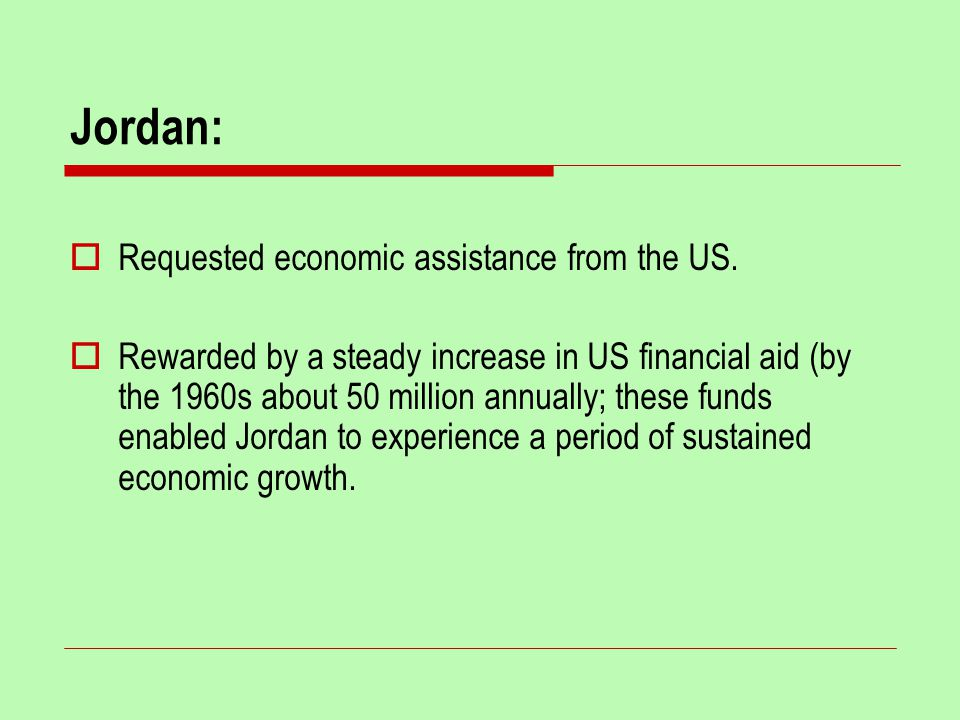Jordan:  Requested economic assistance from the US.