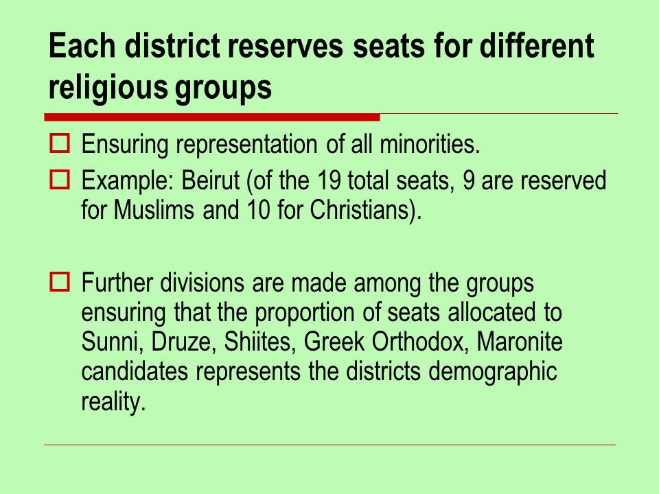 Each district reserves seats for different religious groups  Ensuring representation of all minorities.