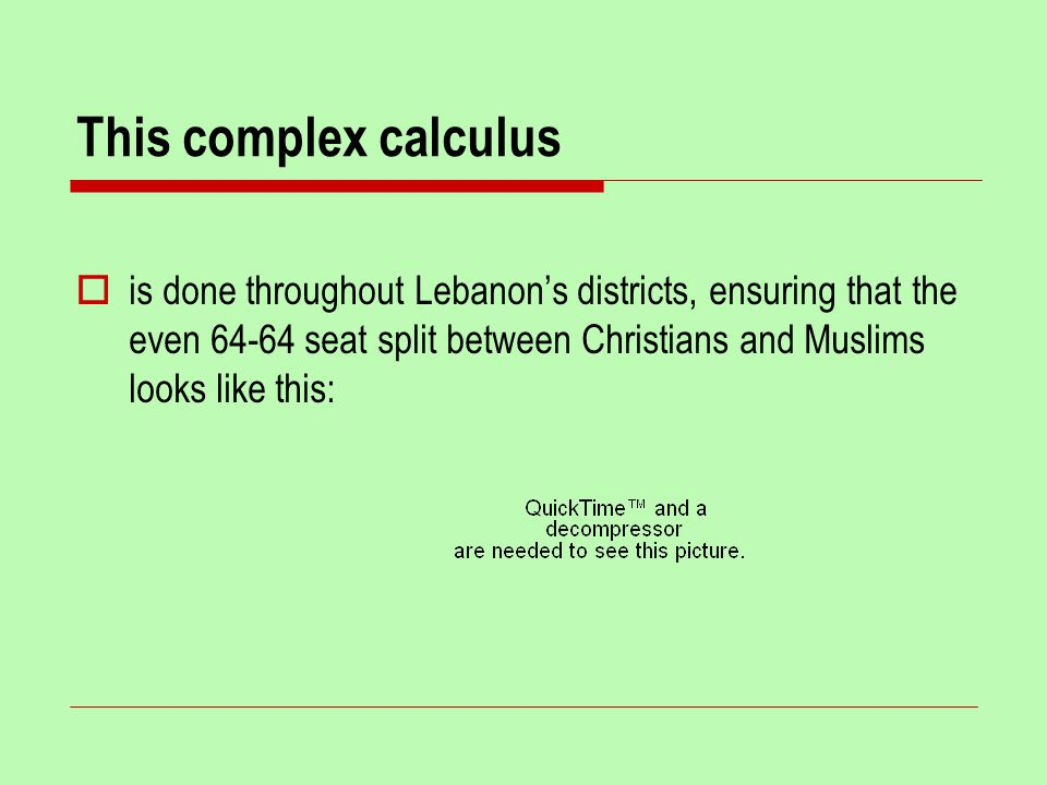This complex calculus  is done throughout Lebanon's districts, ensuring that the even 64-64 seat split between Christians and Muslims looks like this: