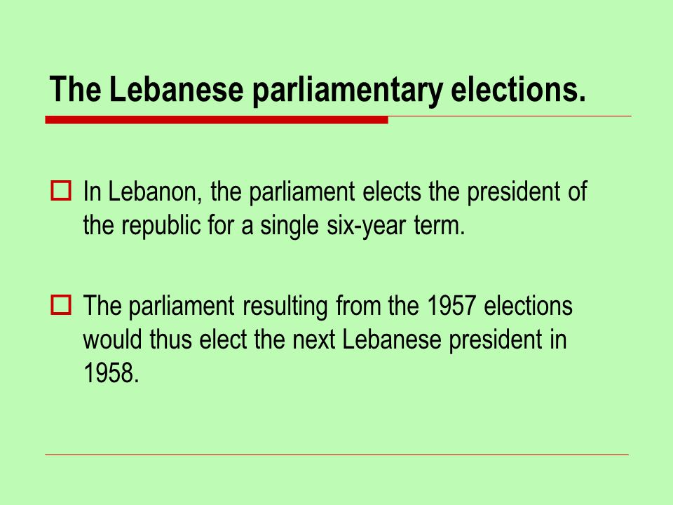 The Lebanese parliamentary elections.