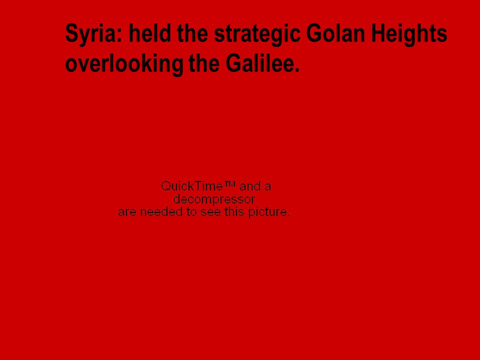 Syria: held the strategic Golan Heights overlooking the Galilee.