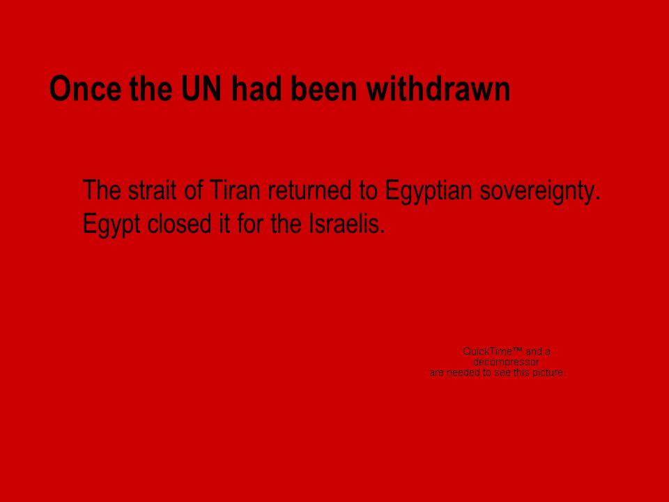 Once the UN had been withdrawn  The strait of Tiran returned to Egyptian sovereignty.