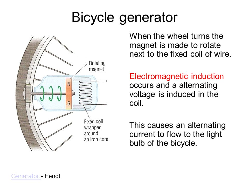 Bicycle generator When the wheel turns the magnet is made to rotate next to the fixed coil of wire. Electromagnetic induction occurs and a alternating