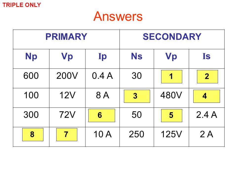 Complete: PRIMARYSECONDARY NpVp IpIp NsVp IsIs 600200V0.4 A3010V8 A 10012V8 A4000480V0.2 A 30072V0.4 A5012V2.4 A 5025V10 A250125V2 A Answers TRIPLE ON