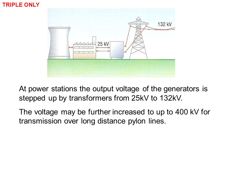 At power stations the output voltage of the generators is stepped up by transformers from 25kV to 132kV. The voltage may be further increased to up to