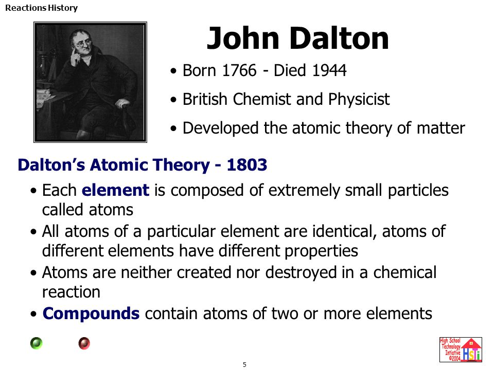 5 Reactions History John Dalton Born 1766 - Died 1944 British Chemist and Physicist Developed the atomic theory of matter Dalton's Atomic Theory - 180