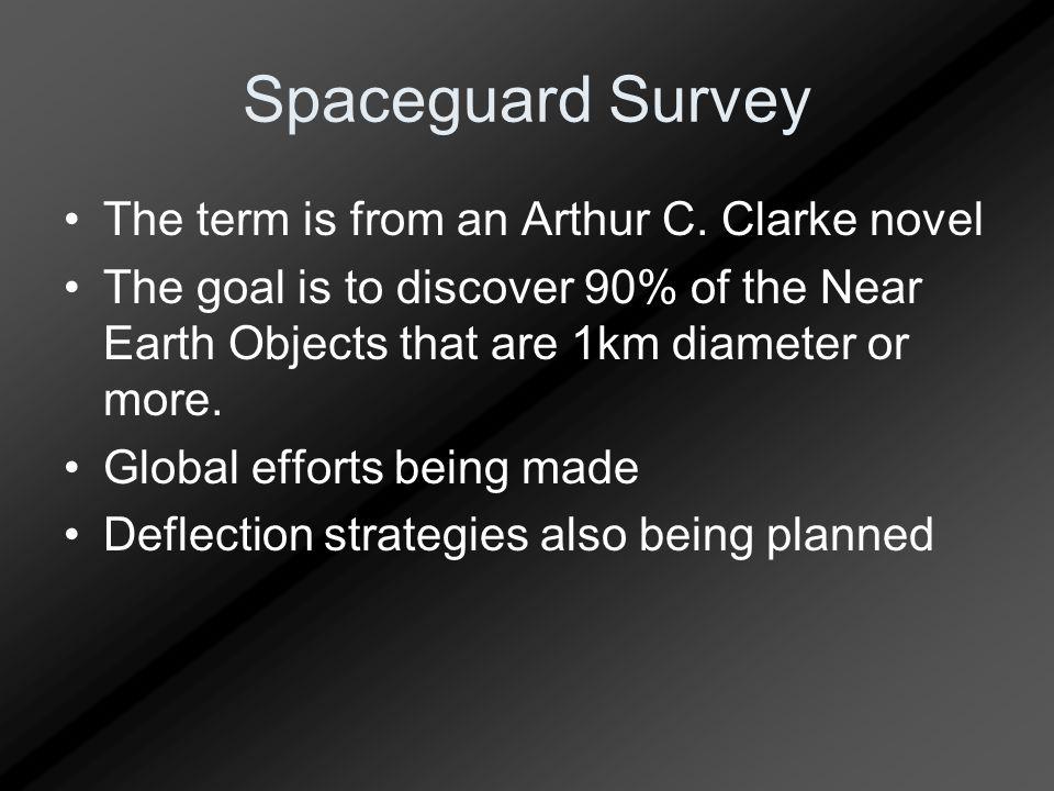 Spaceguard Survey The term is from an Arthur C.