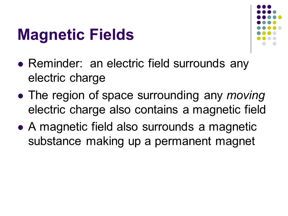 Magnetic Fields Reminder: an electric field surrounds any electric charge The region of space surrounding any moving electric charge also contains a m