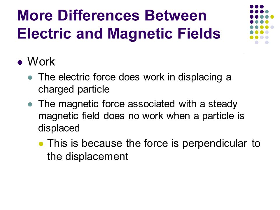 More Differences Between Electric and Magnetic Fields Work The electric force does work in displacing a charged particle The magnetic force associated