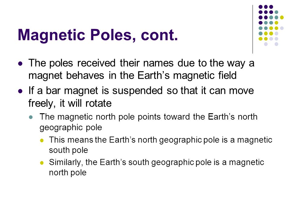 Magnetic Poles, cont. The poles received their names due to the way a magnet behaves in the Earth's magnetic field If a bar magnet is suspended so tha