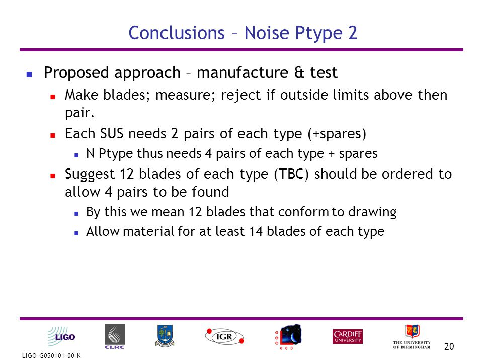 LIGO-G050101-00-K 20 Conclusions – Noise Ptype 2 Proposed approach – manufacture & test Make blades; measure; reject if outside limits above then pair.