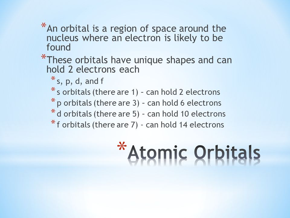 * An orbital is a region of space around the nucleus where an electron is likely to be found * These orbitals have unique shapes and can hold 2 electrons each * s, p, d, and f * s orbitals (there are 1) – can hold 2 electrons * p orbitals (there are 3) – can hold 6 electrons * d orbitals (there are 5) – can hold 10 electrons * f orbitals (there are 7) - can hold 14 electrons