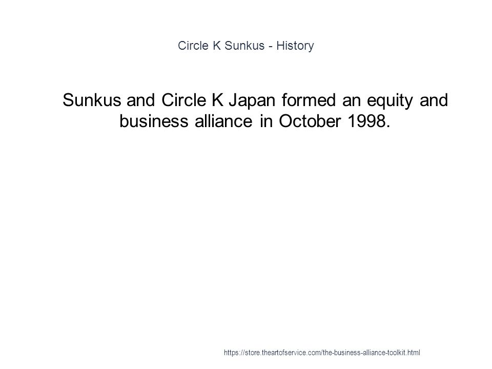 Circle K Sunkus - History 1 Sunkus and Circle K Japan formed an equity and business alliance in October 1998.