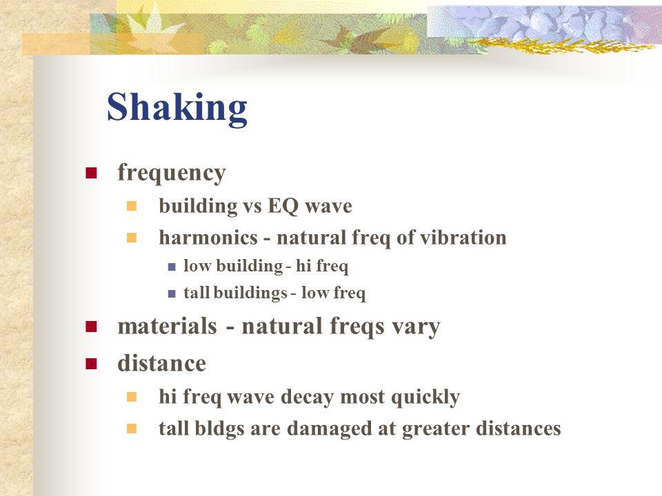 Shaking frequency building vs EQ wave harmonics - natural freq of vibration low building - hi freq tall buildings - low freq materials - natural freqs