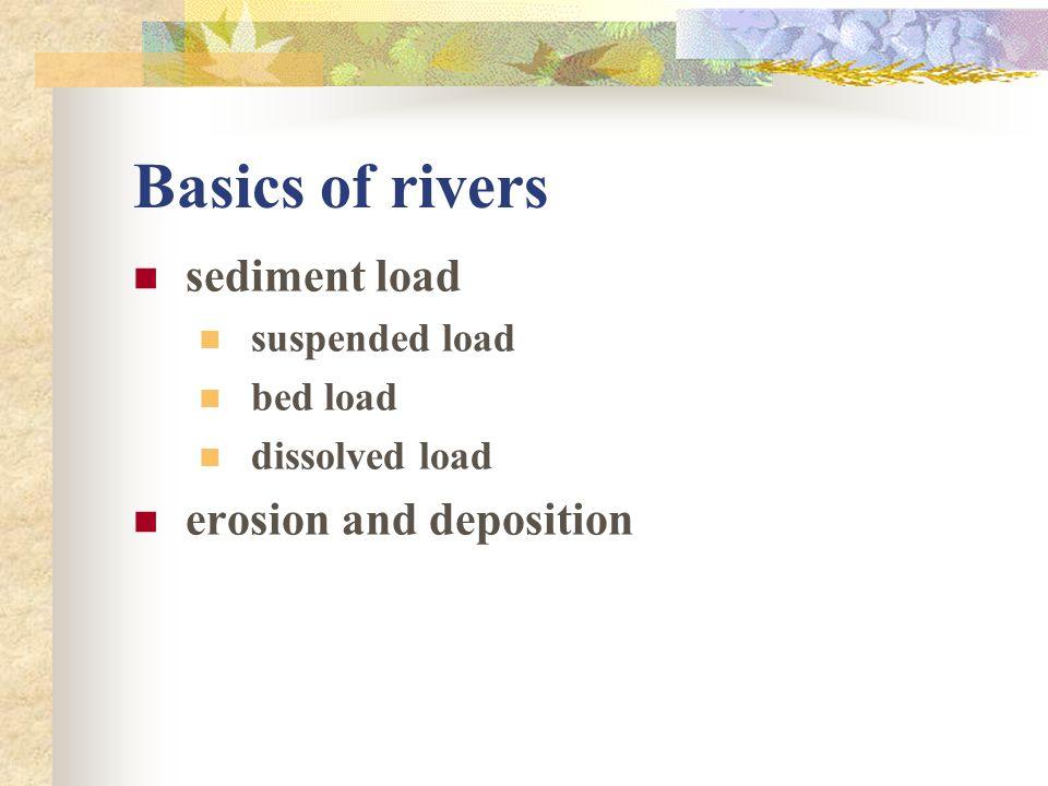 Basics of rivers sediment load suspended load bed load dissolved load erosion and deposition