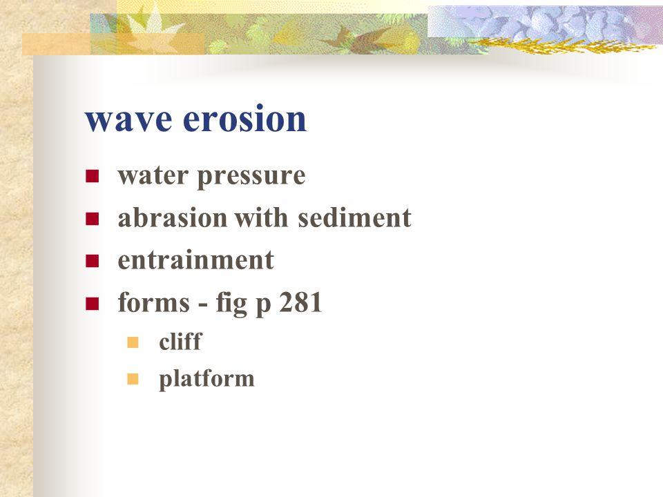 wave erosion water pressure abrasion with sediment entrainment forms - fig p 281 cliff platform