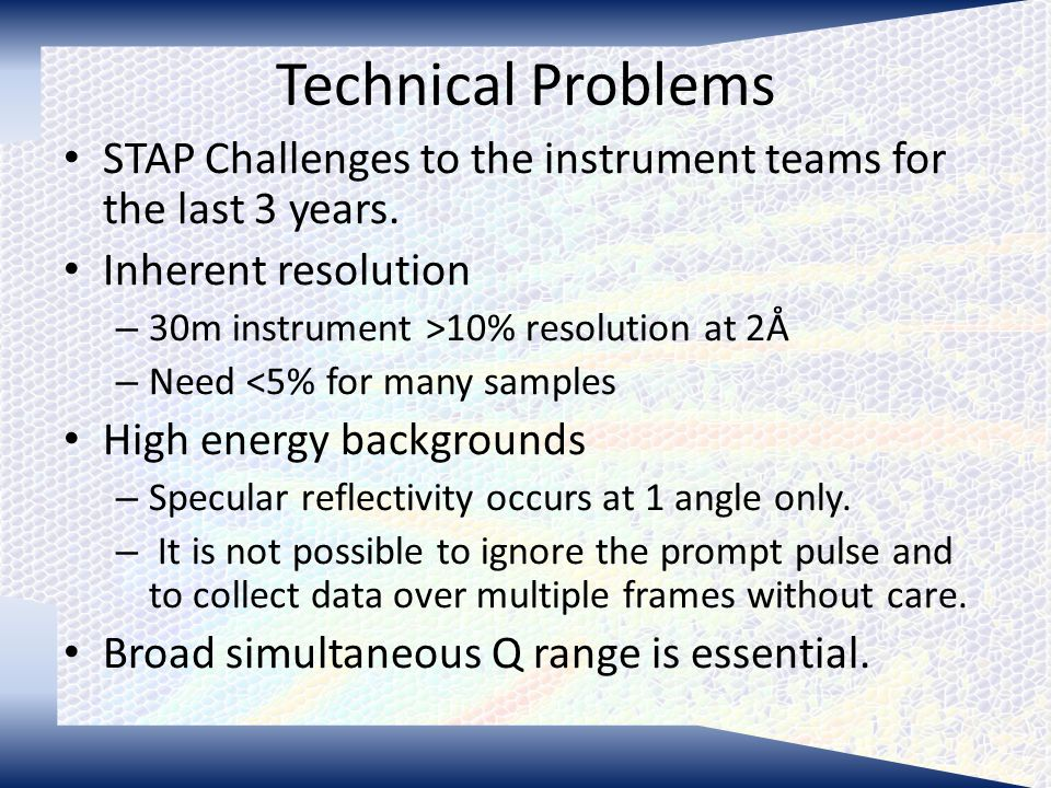 Technical Problems STAP Challenges to the instrument teams for the last 3 years.