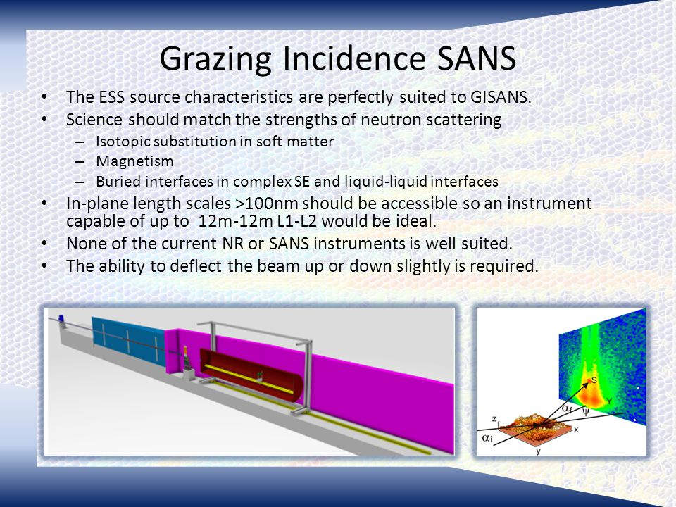 Grazing Incidence SANS The ESS source characteristics are perfectly suited to GISANS.