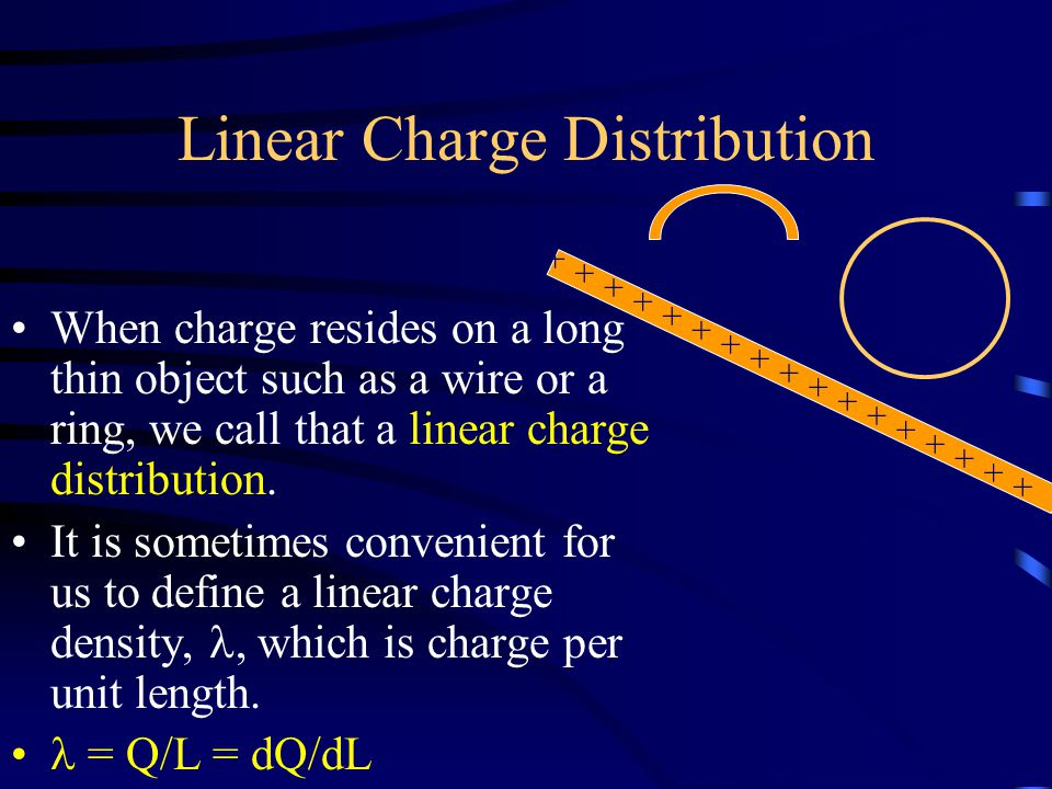 Linear Charge Distribution When charge resides on a long thin object such as a wire or a ring, we call that a linear charge distribution.