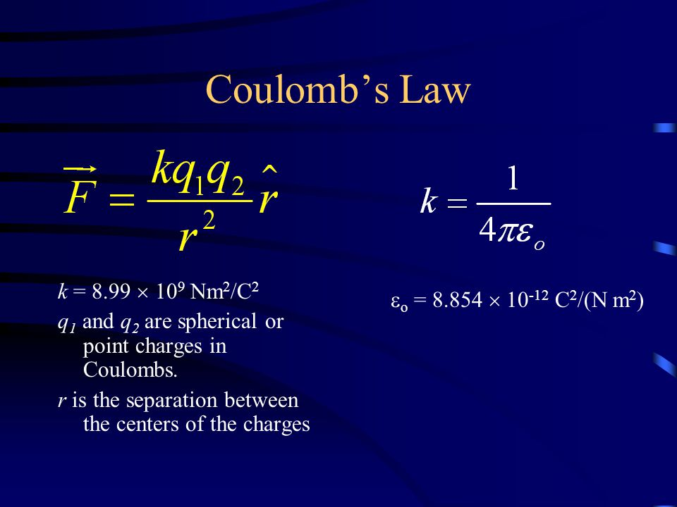 Coulomb's Law k = 8.99  10 9 Nm 2 /C 2 q 1 and q 2 are spherical or point charges in Coulombs.