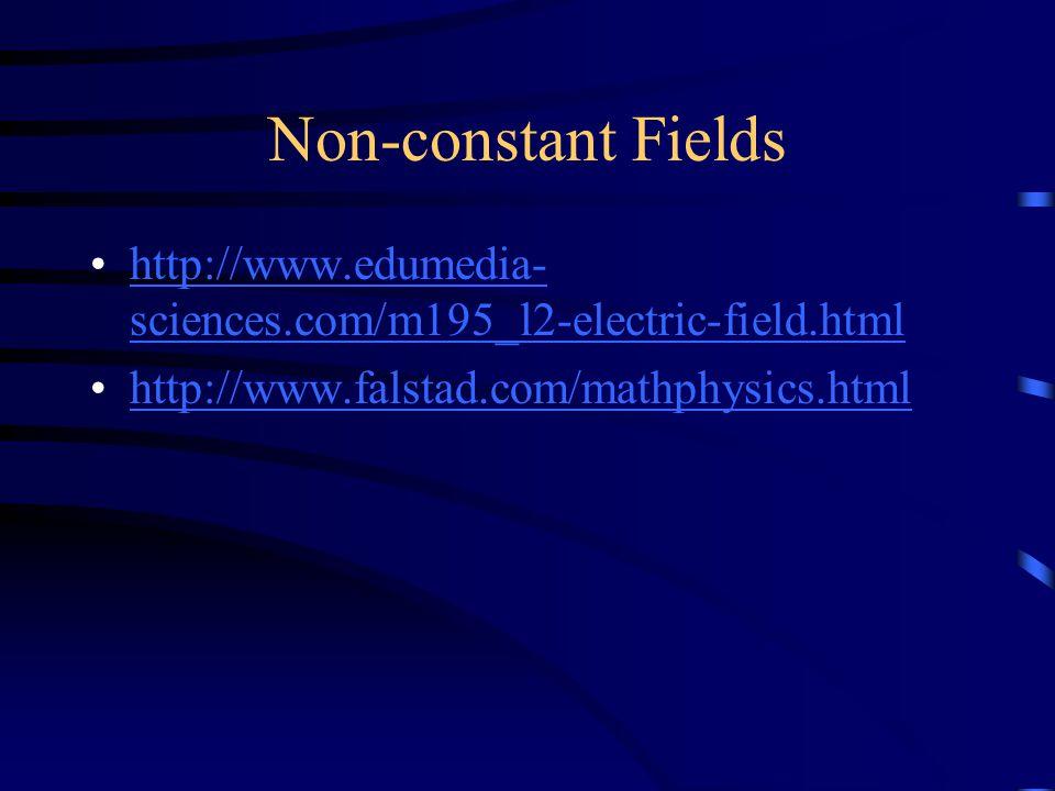 Non-constant Fields http://www.edumedia- sciences.com/m195_l2-electric-field.htmlhttp://www.edumedia- sciences.com/m195_l2-electric-field.html http://www.falstad.com/mathphysics.html