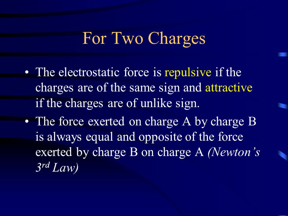 For Two Charges The electrostatic force is repulsive if the charges are of the same sign and attractive if the charges are of unlike sign.