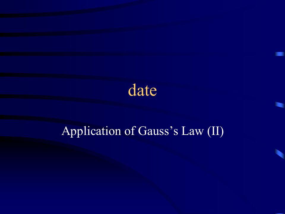 date Application of Gauss's Law (II)