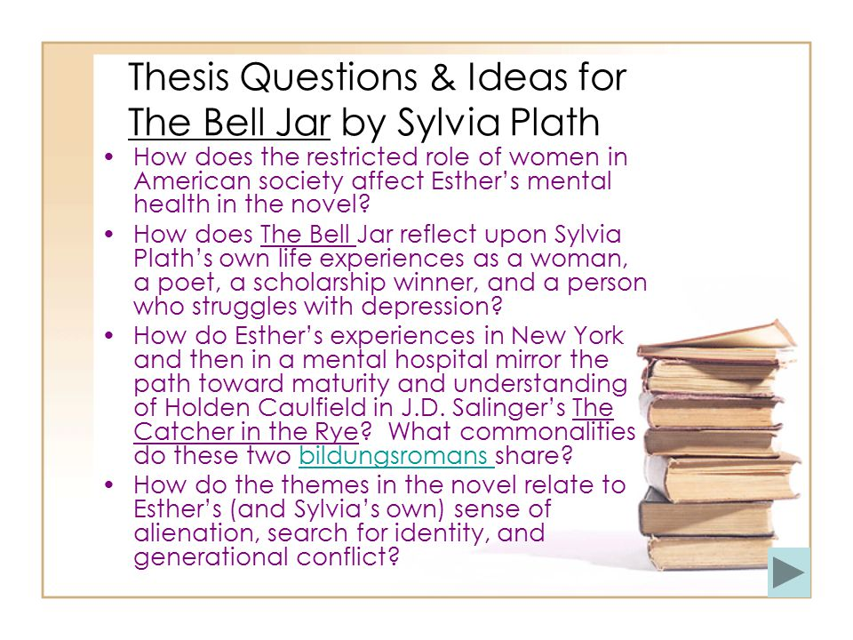 Thesis Questions & Ideas for The Bell Jar by Sylvia Plath How does the restricted role of women in American society affect Esther's mental health in the novel.