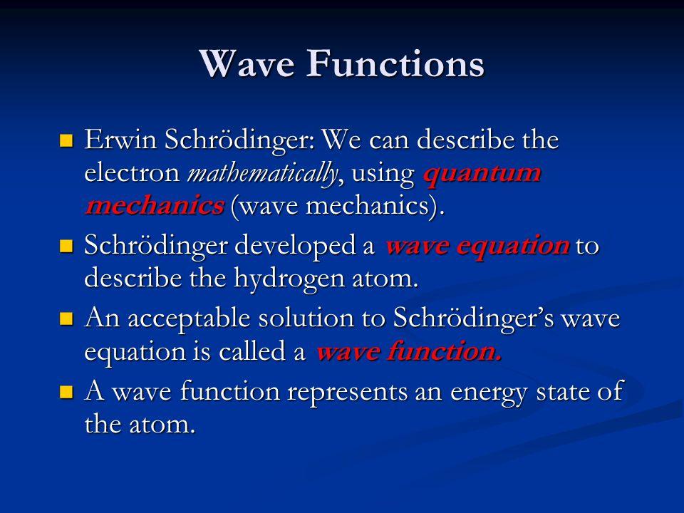 Erwin Schrödinger: We can describe the electron mathematically, using quantum mechanics (wave mechanics). Erwin Schrödinger: We can describe the elect