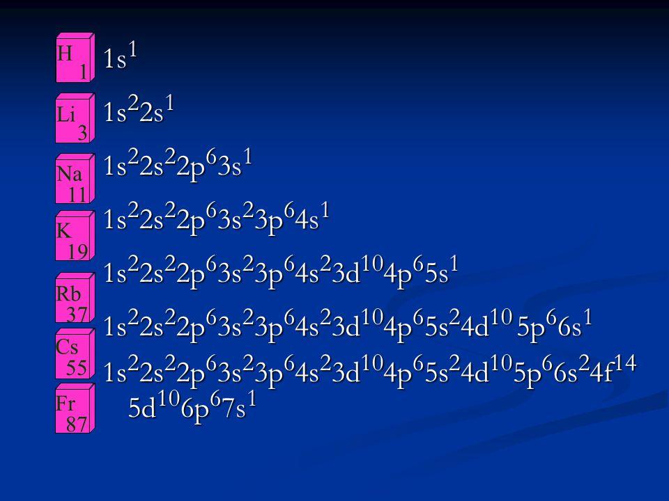 1s11s11s11s1 1s 2 2s 1 1s 2 2s 2 2p 6 3s 1 1s 2 2s 2 2p 6 3s 2 3p 6 4s 1 1s 2 2s 2 2p 6 3s 2 3p 6 4s 2 3d 10 4p 6 5s 1 1s 2 2s 2 2p 6 3s 2 3p 6 4s 2 3
