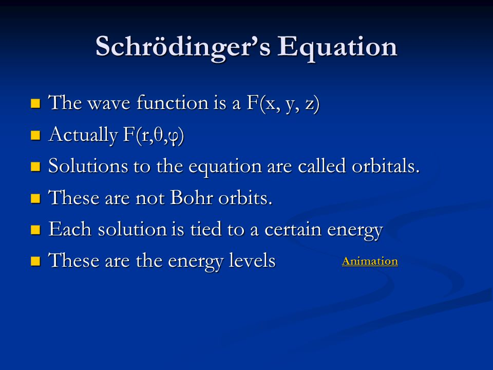 Schrödinger's Equation The wave function is a F(x, y, z) The wave function is a F(x, y, z) Actually F(r,θ,φ) Actually F(r,θ,φ) Solutions to the equati