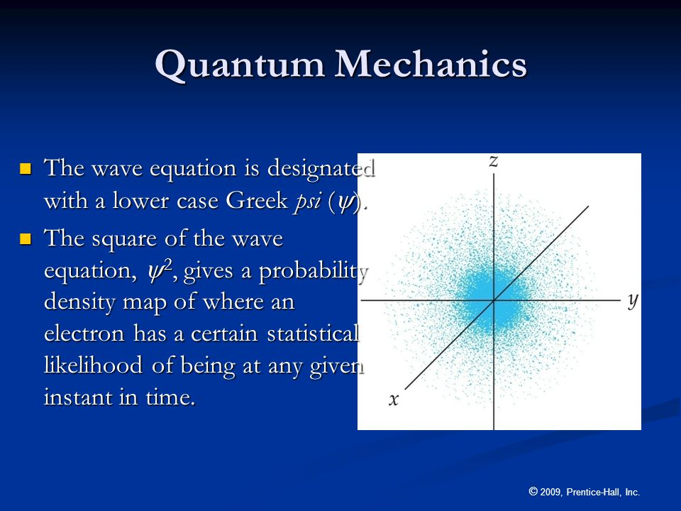 © 2009, Prentice-Hall, Inc. Quantum Mechanics The wave equation is designated with a lower case Greek psi (  ). The wave equation is designated with