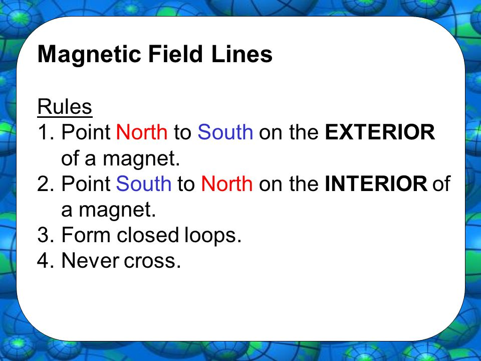 Magnetic Field Lines Rules 1.Point North to South on the EXTERIOR of a magnet. 2.Point South to North on the INTERIOR of a magnet. 3.Form closed loops