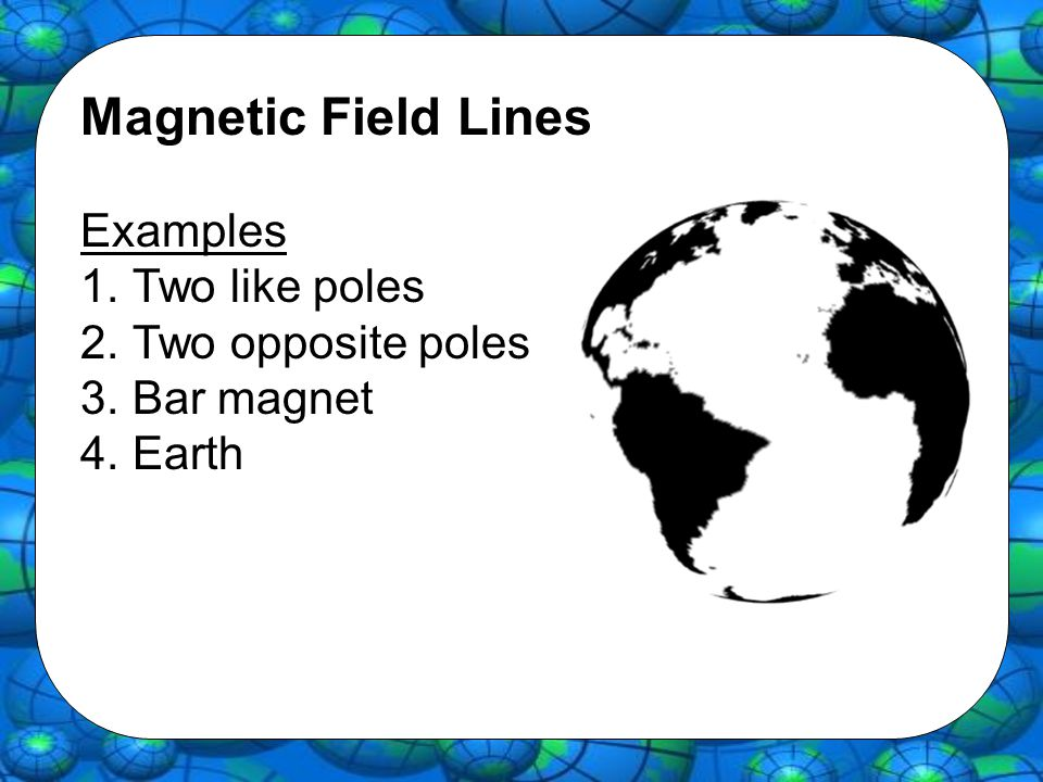 Magnetic Field Lines Examples 1.Two like poles 2.Two opposite poles 3.Bar magnet 4.Earth