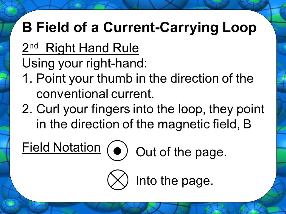 B Field of a Current-Carrying Loop 2 nd Right Hand Rule Using your right-hand: 1.Point your thumb in the direction of the conventional current. 2.Curl