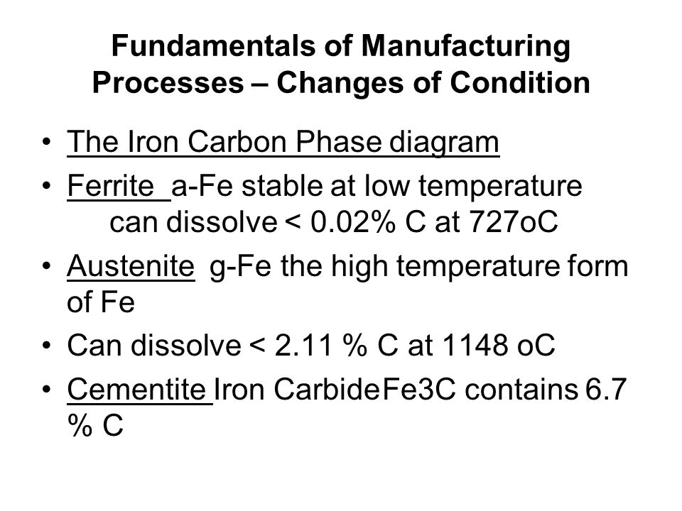 Fundamentals of Manufacturing Processes – Changes of Condition The Iron Carbon Phase diagram Ferrite a-Fe stable at low temperature can dissolve < 0.02% C at 727oC Austenite g-Fe the high temperature form of Fe Can dissolve < 2.11 % C at 1148 oC Cementite Iron CarbideFe3C contains 6.7 % C