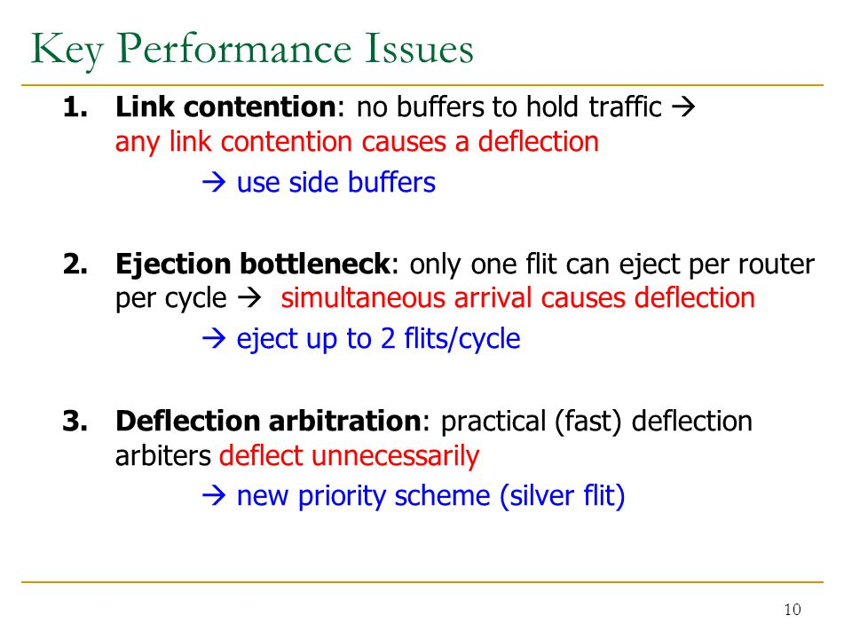 Key Performance Issues 1. Link contention: no buffers to hold traffic  any link contention causes a deflection  use side buffers 2. Ejection bottlen