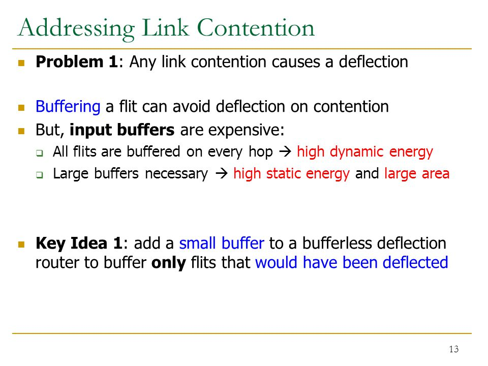 Addressing Link Contention Problem 1: Any link contention causes a deflection Buffering a flit can avoid deflection on contention But, input buffers a