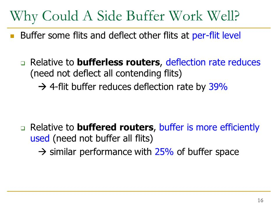 Why Could A Side Buffer Work Well? Buffer some flits and deflect other flits at per-flit level  Relative to bufferless routers, deflection rate reduc