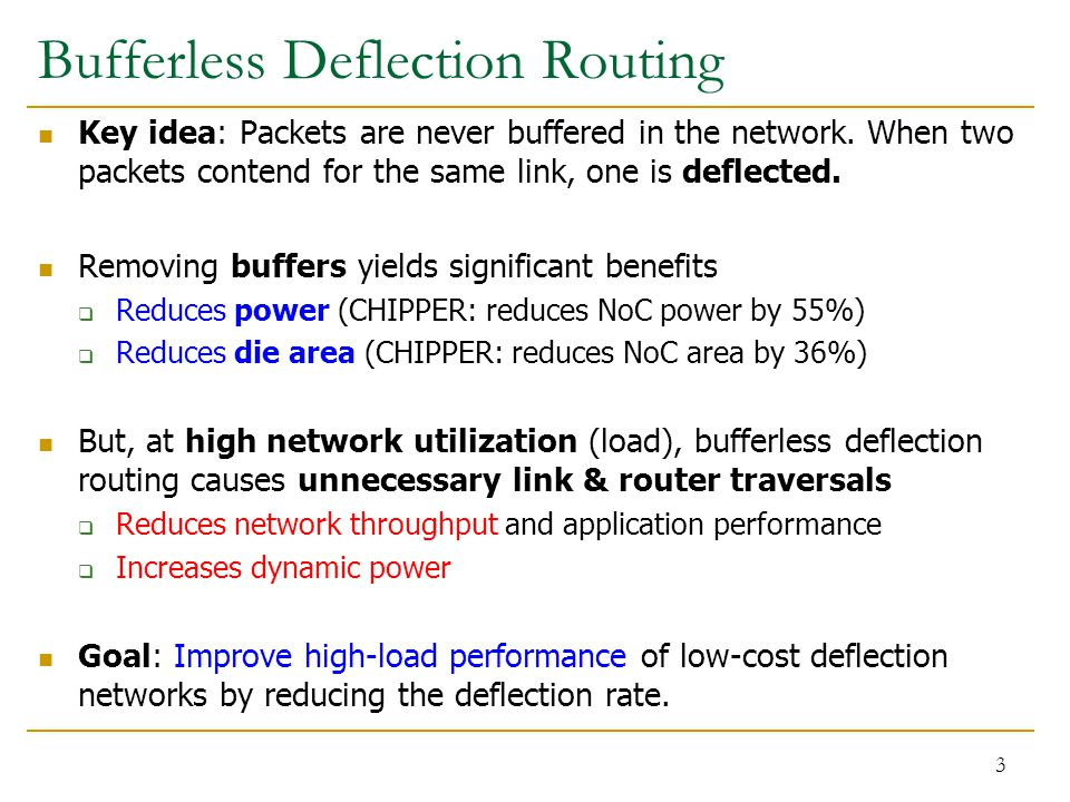 Bufferless Deflection Routing Key idea: Packets are never buffered in the network.