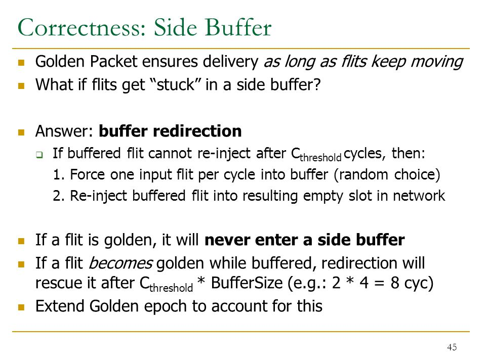"""Correctness: Side Buffer Golden Packet ensures delivery as long as flits keep moving What if flits get """"stuck"""" in a side buffer? Answer: buffer redire"""