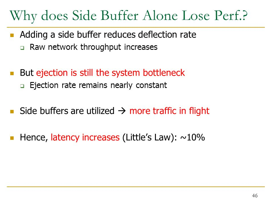 Why does Side Buffer Alone Lose Perf.? Adding a side buffer reduces deflection rate  Raw network throughput increases But ejection is still the syste