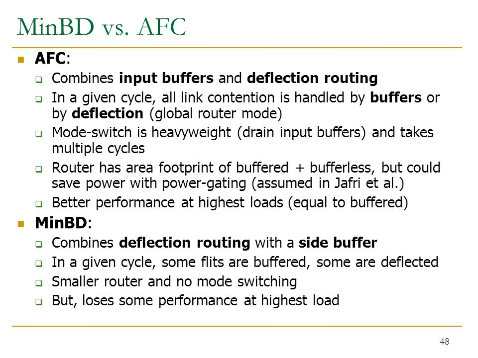 MinBD vs. AFC AFC:  Combines input buffers and deflection routing  In a given cycle, all link contention is handled by buffers or by deflection (glo